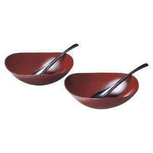 風華ペアカレー鉢セット(銀朱)(スプーン付)