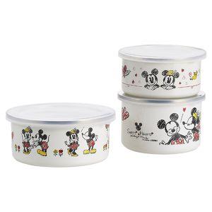 Disney <ミッキー&ミニー>ホーロー容器3pc